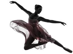 Woman  ballerina ballet dancer dancing silhouette Stock Photos