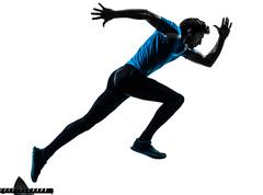 Man runner sprinter  silhouette Stock Photos