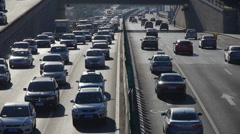 Traffic on overpass,traffic jam. Stock Footage