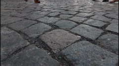 Cobbled street, background Stock Footage