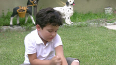 little boy and mosquito - stock footage