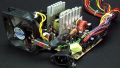 Vertical pan of disassembled power supply 2 Stock Footage