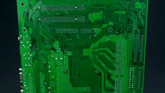 Vertical pan of computer motherboard Stock Footage