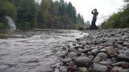 Stock Video Footage of Person Skipping River Stone