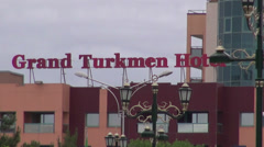 'Grand Turkmen Hotel', zoom out to park, Ashgabat Stock Footage
