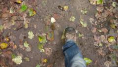 Point of View Hiking Muddy Trail Stock Footage