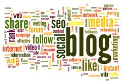 blog concept in word tag cloud - stock illustration