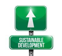 Sustainable development road sign illustration Stock Illustration