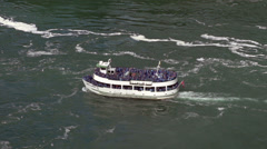 Tour boat at Niagara Falls in slow motion Stock Footage