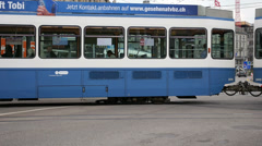 Tram line in Zurich Stock Footage