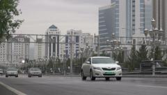 Commercial avenue in Ashgabat, Turkmenistan Stock Footage