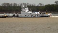 Barge on the Mississippi River Stock Footage