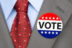 Stock Photo of vote pin on brown suit