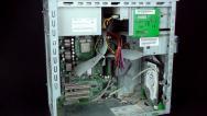 Vertical pan of broken computer 2 Stock Footage