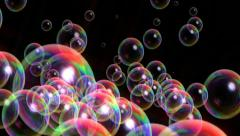 Bubbles rising close up on black Stock Footage