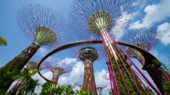 Timelapse of Gardens by the bay, supertrees, Singapore Stock Footage