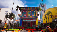 Timelapse of colorful building in Little India, Singapore Stock Footage