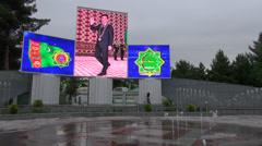 Turkmenbashi, Ashgabat, electronic billboard, propaganda, great leader Stock Footage
