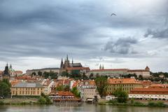 View of the district of hradcany and st. vitus cathedral in prague Stock Photos