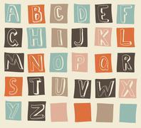 funky alphabet - stock illustration
