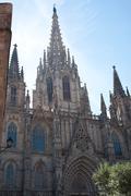 gothic barcelona cathedral (santa eulalia or santa creu) - stock photo