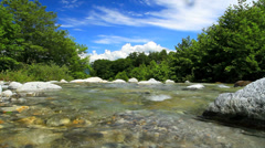 Pure rapid stream in the mountain river.+sound Stock Footage