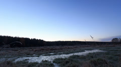 Dawn over the frozen swamp. Time Lapse. 4K Stock Footage