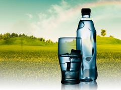 Spring mineral water bottled with glass and ice against natural landscape Stock Illustration