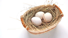 Basket of white chicken eggs Stock Footage