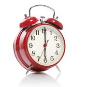 Red old style alarm clock isolated on white Stock Photos