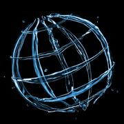 abstract globe from water splashes isolated on black - stock photo