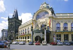 municipal house mucha dum in prague czech republic - stock photo