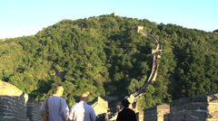 Monks walking down the great wall Stock Footage