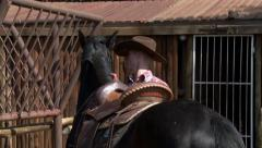 Cowboy adjusting saddle on horse NTSC Stock Footage
