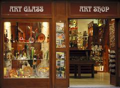 art glass on window display old town in prague czech republic - stock photo