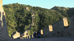 People walking at the stairs from the great wall Stock Footage