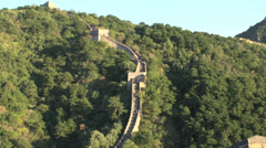 People walking down the great wall stairs Stock Footage