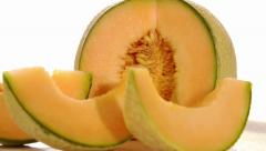 Melon rotating over white background Stock Footage