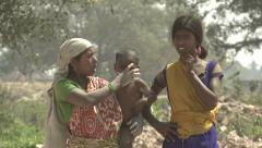 Indian brick field & brick field workers Stock Footage