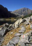tourist trial in tatra mt poland - stock photo