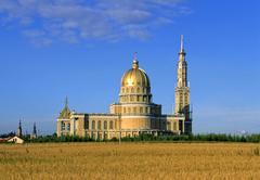 lichen basilica the biggest basilica in poland - stock photo
