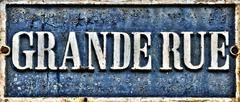 Stock Photo of sign Grande Rue in the old village of Marly le Roi