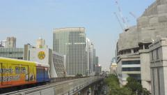 Skytrain and Buildings in Bangkok City Thailand Stock Footage