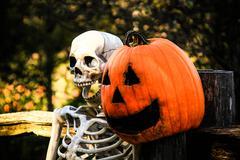 Skeleton and Pumpkinhead 2 - stock photo