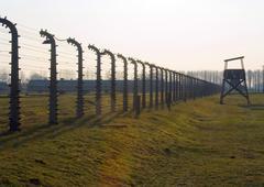 nazi concentration camp in auschwitz-binkenau poland - stock photo