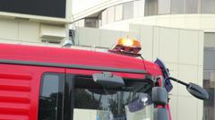 Emergency orange lights on top of truck car, road service Stock Footage