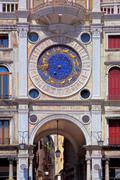 zodiac clock at san marco square in venice - stock photo
