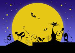 silhouettes of black cats and bats against moon in halloween night - stock photo