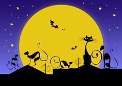 Siluetit mustat kissat ja lepakot vastaan kuun halloween-iltana Kuvituskuvat