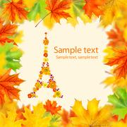 Eiffel tower of flowers with autumn leaves frame Stock Photos